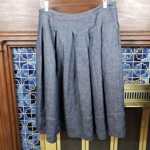 Talbots Linen Pleated Full Skirt Denim Look